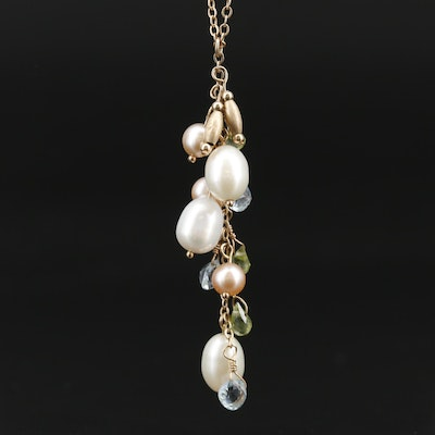 14K Pearl, Peridot and Topaz Necklace