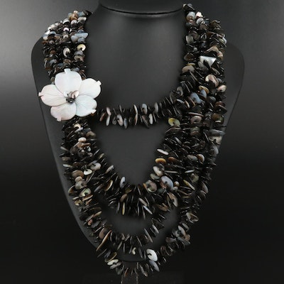 Graduating Multi-Strand Mother of Pearl Necklace with Flower Motif
