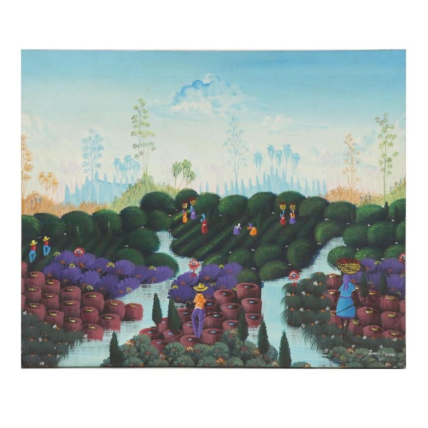 John Adeler Pierre Haitian Folk Art Landscape Painting, 1989