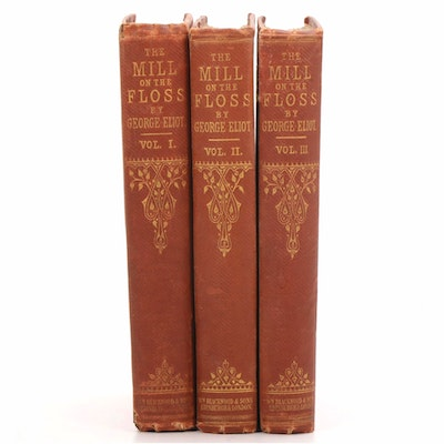 "First Edition Three-Volume Set ""Mill on the Floss"" by George Eliot, 1860"