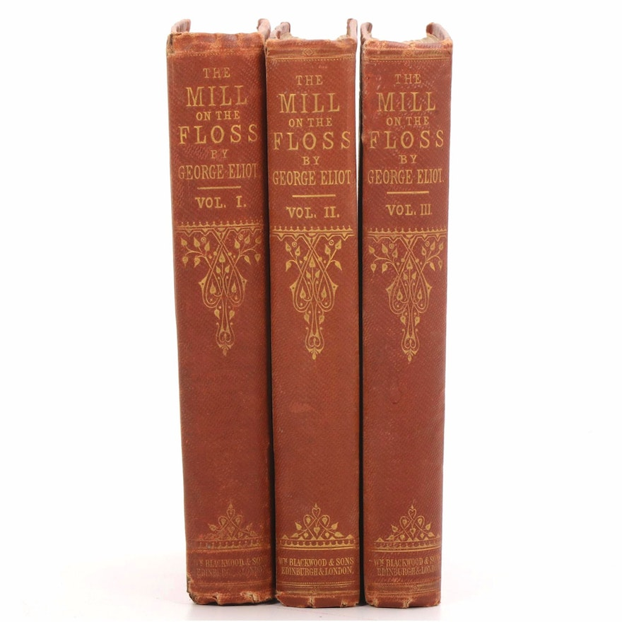 """First Edition Three-Volume Set """"Mill on the Floss"""" by George Eliot, 1860"""