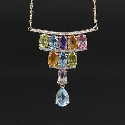 14K Gemstone Tiered Necklace
