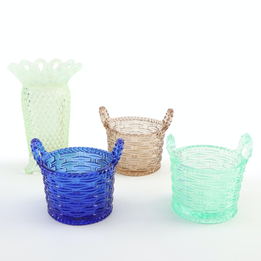 "Pressed Glass ""Basket Weave"" Baskets and Openwork Vase, Early to Mid 20th C."
