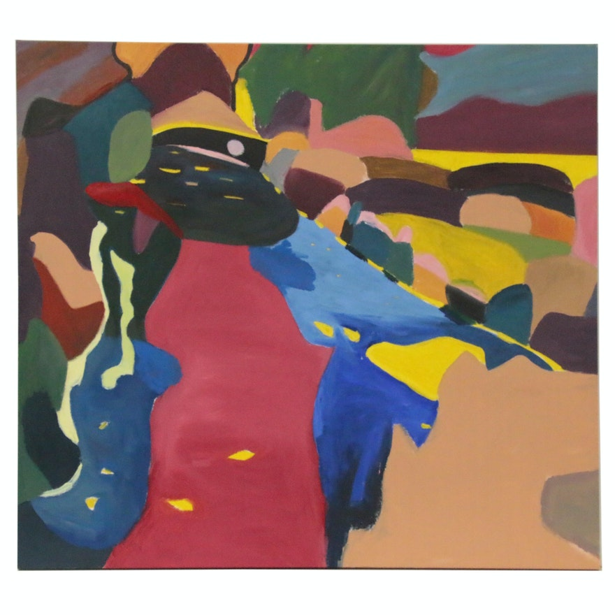 Jerald Miranov Abstract Oil Painting, Late 20th Century