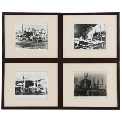 Silver Gelatin Photographs of Schooners in Dry Dock, Late 20th Century