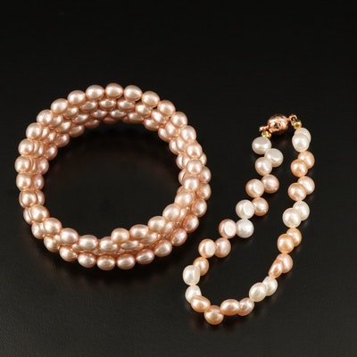 Pearl Bracelets with Wrap Around and Magnetic Closures