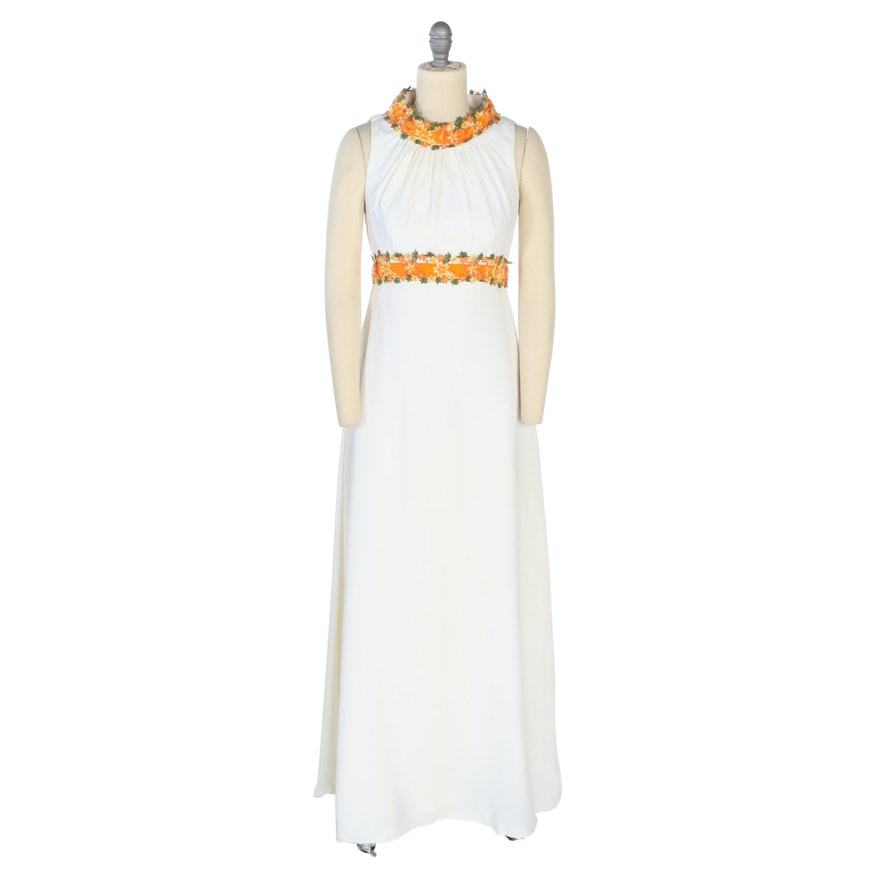 Sleeveless Floral Trim Halter Dress, 1960s Vintage