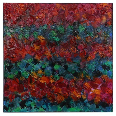 "Abstract Impasto Acrylic Painting ""Happy Hearts"""