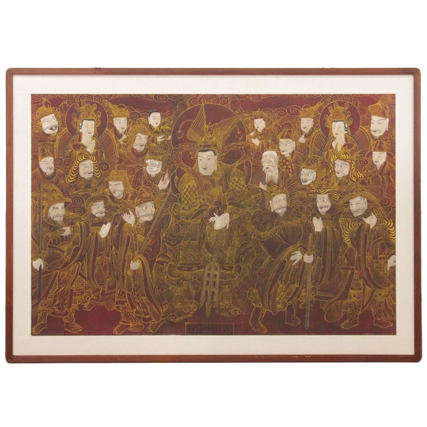 Korean Large-Scale Gouache Painting of Guardian Spirits, 20th Century