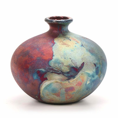 Stephan Roy Copper Metallic Raku Fired Spherical Stoneware Vase