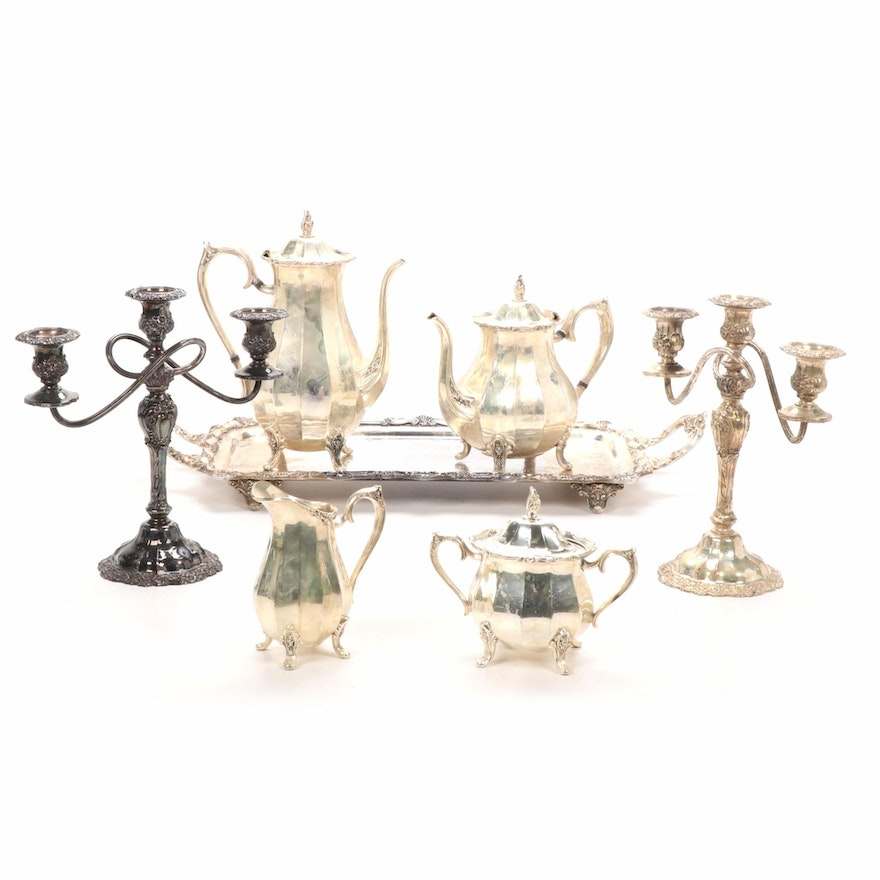 "Roger Brothers ""Magic Rose"" Tea Service and Other Silver Plate Items, Mid-20th C"