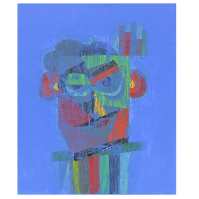 "Randy Jacobs Abstract Portrait Acrylic Painting ""Reveler"""