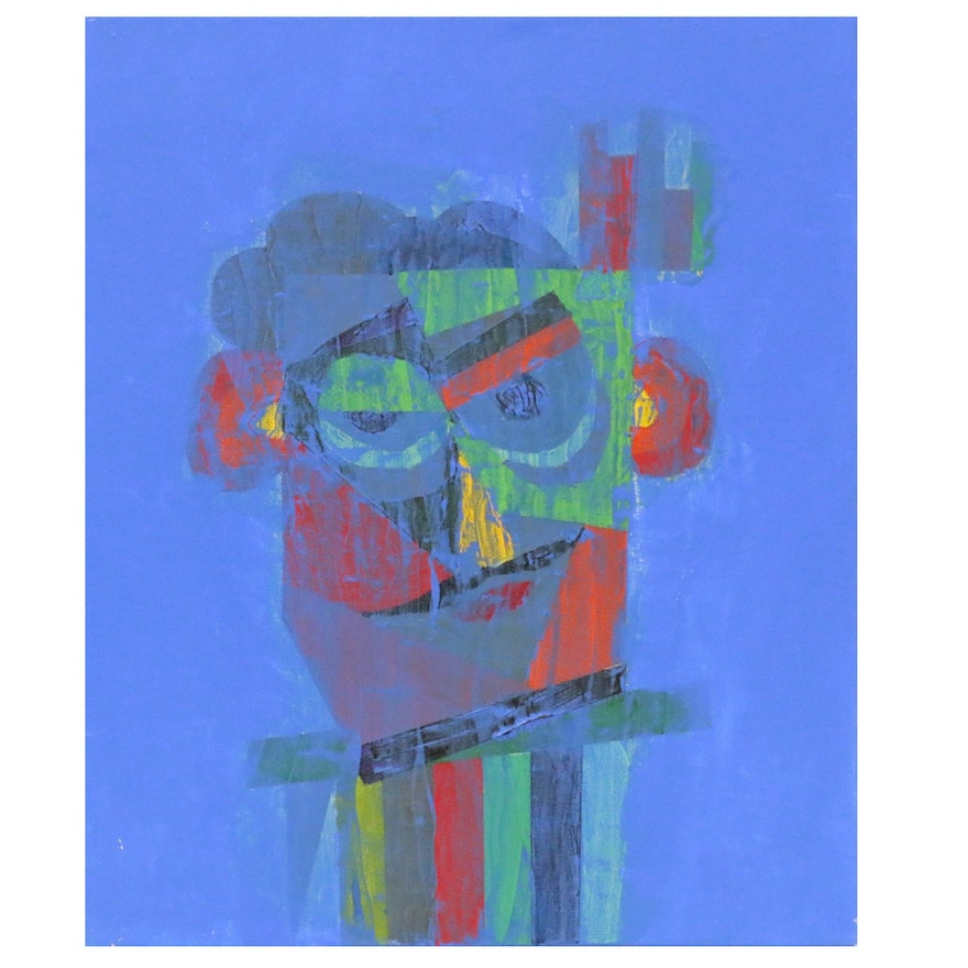 """Randy Jacobs Abstract Portrait Acrylic Painting """"Reveler"""""""