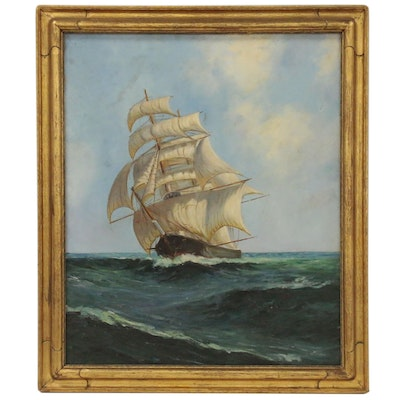Oil Painting of Clipper Ship at Sea after Montague Dawson
