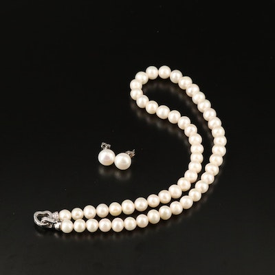 Sterling Silver Pearl Necklace and Stud Earrings Set with Cubic Zirconia Accents