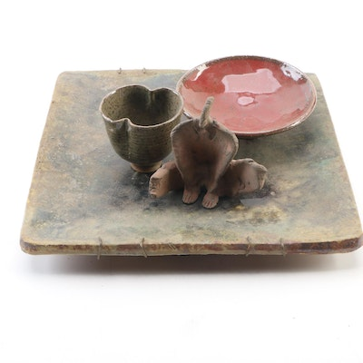 John Tuska Ceramic Wall Plaque, Statuette, Shallow Bowl and Teacup