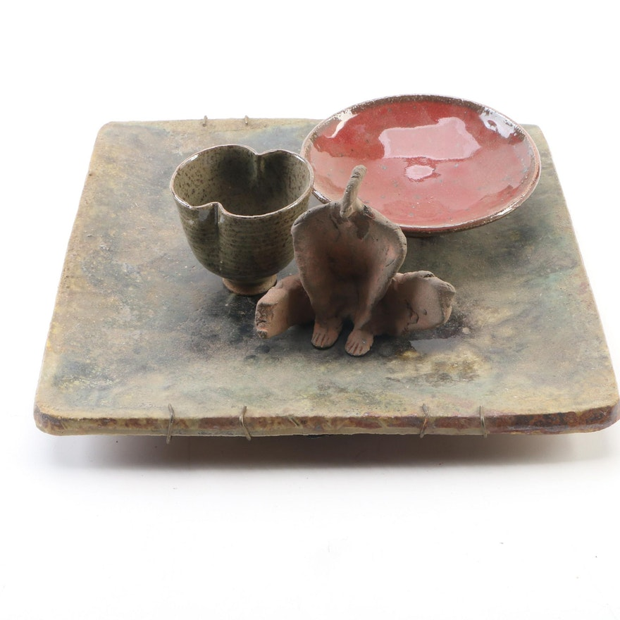 John Tuska Ceramic Wall Plaque, Statuette, Shallow Bowl and Teacup