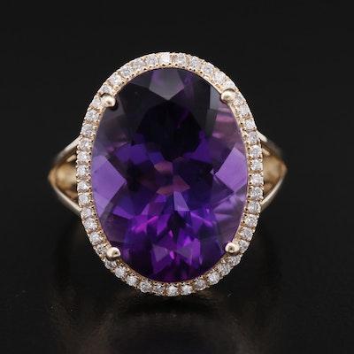 14K 10.43 CT Amethyst and Diamond Halo Ring