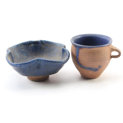 John Tuska Ceramic Bowl and Teacup, Mid to Late 20th Century