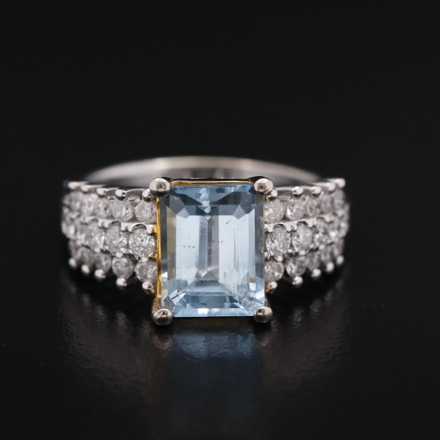 14K Rectangular Aquamarine and Diamond Ring