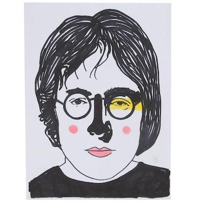 "Francois Aguiard Marker Drawing ""John Lennon"", 2019"