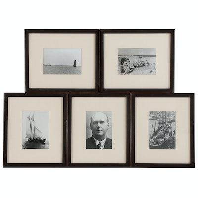 Nautical Black and White Photographs of Schooner Ships and More