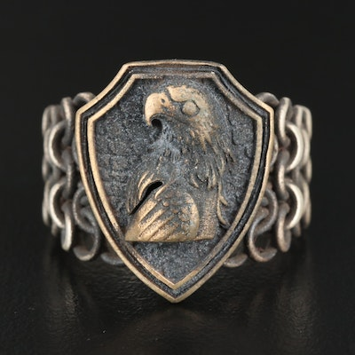 Sterling Silver Eagle Shield Ring with Chain Link Shoulders