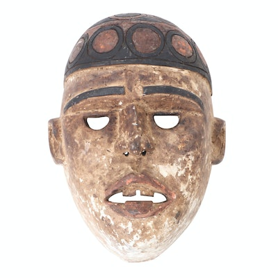 Kongo Hand-Carved Wood Mask, Central Africa