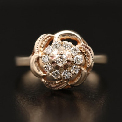 10K Diamond Ring with Stylized Flower Motif