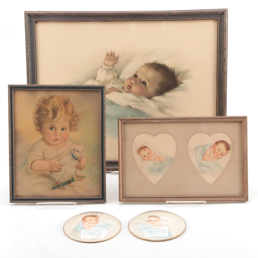 """Chromolithograph After Bessie Gutmann """"Awakening"""" and Other Prints"""
