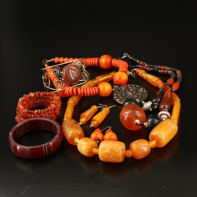Amber, Wood and Resin Bracelets, Necklaces and Earrings