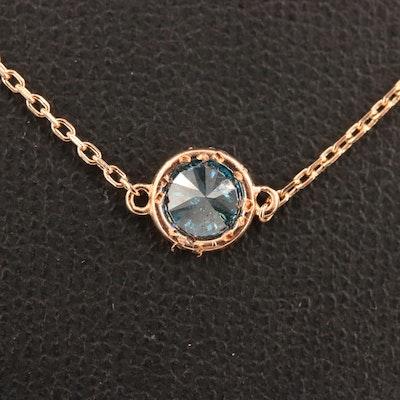 18K Bezel Set Diamond Pendant Necklace