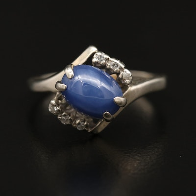 14K Star Sapphire Ring with Diamond Accents