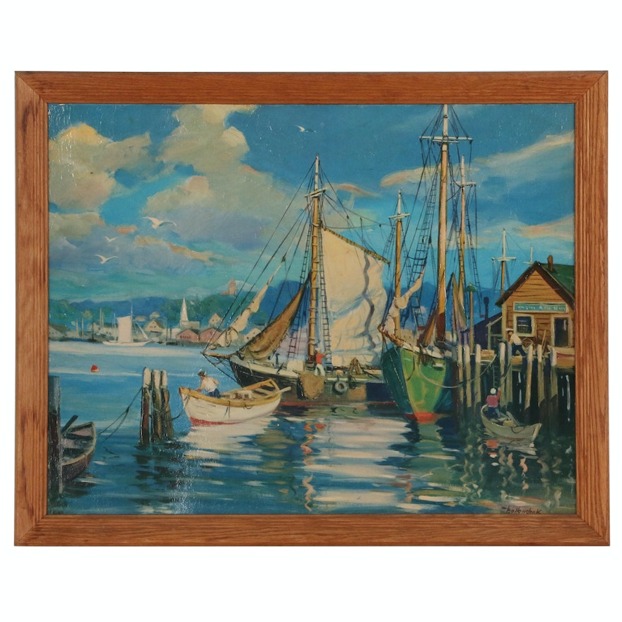 Offset Lithograph After Walter Bollendonk Nautical Scene