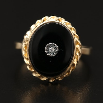10K Diamond and Black Onyx Ring with Rope Style Accent