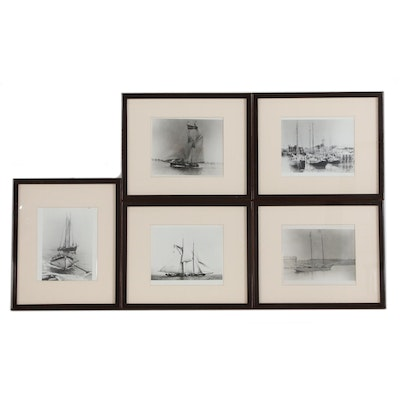 Silver Gelatin Maritime Photographs of Fishing Boats, Late 20th Century