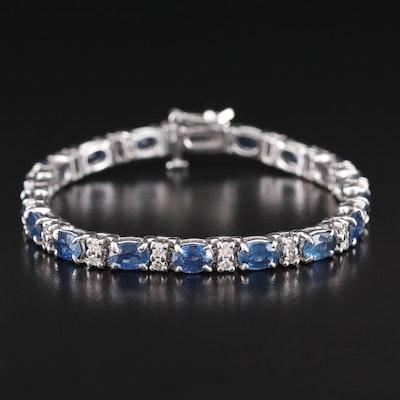 14K Sapphire and Diamond Line Bracelet