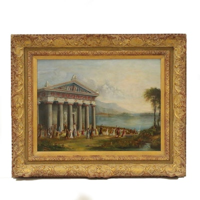 J. Mayers Neoclassical Oil Painting of Temple of Artemis, 1890