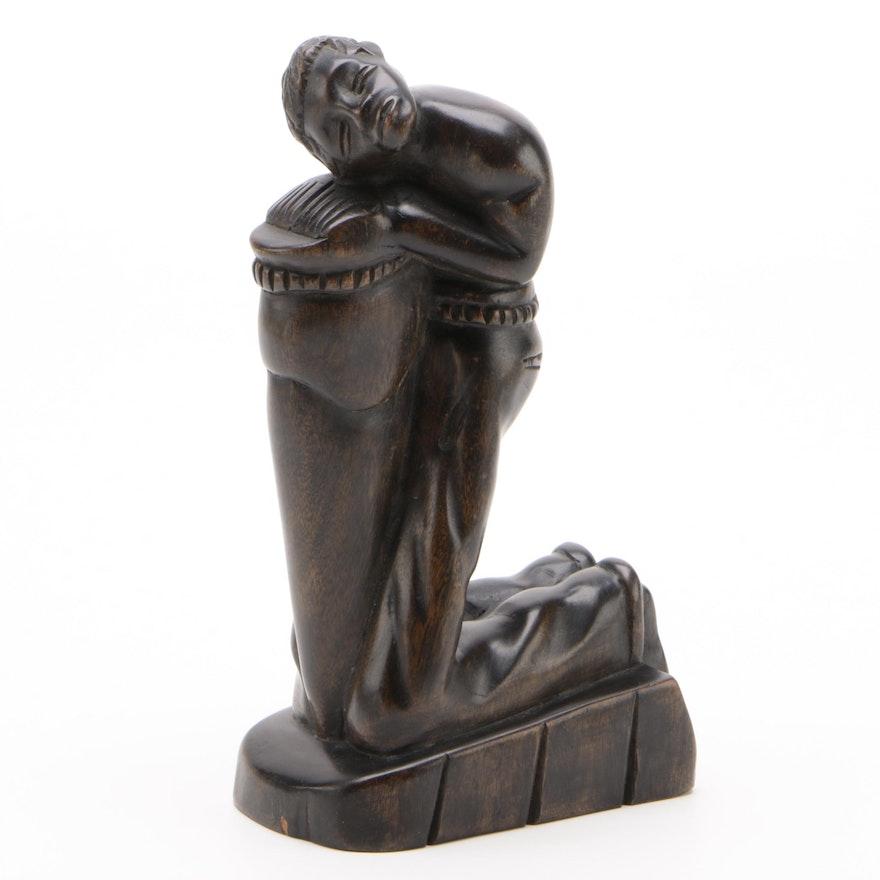 A.N. Ferguste Haitian Folk Art Carved Wood Figurative Sculpture
