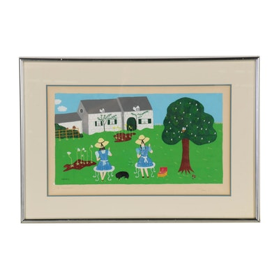 Folk Style Gouache Painting of Two Girls Sewing in the Garden