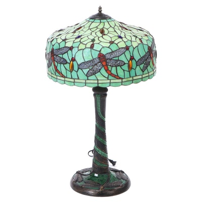 Stained Glass Dragonfly Table Lamp in the Style of Tiffany Studios, NY