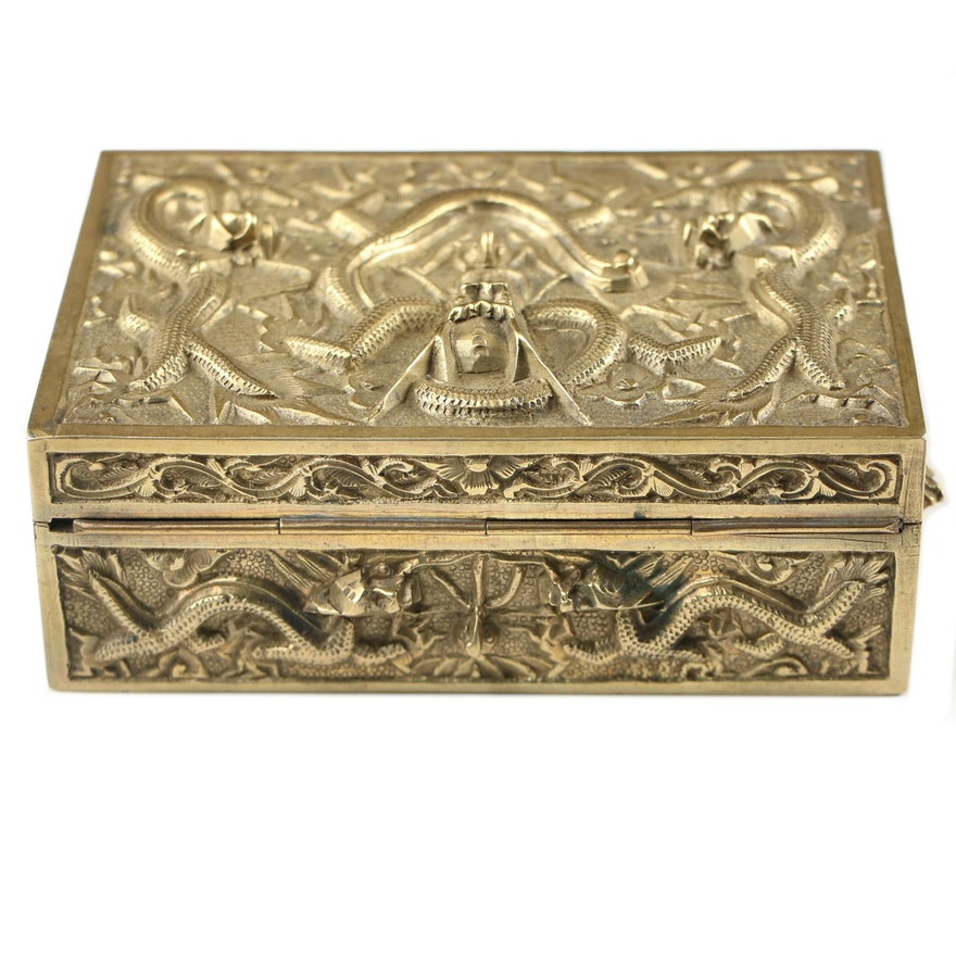 Brass and Wood Box with Embossed Dragon Motif