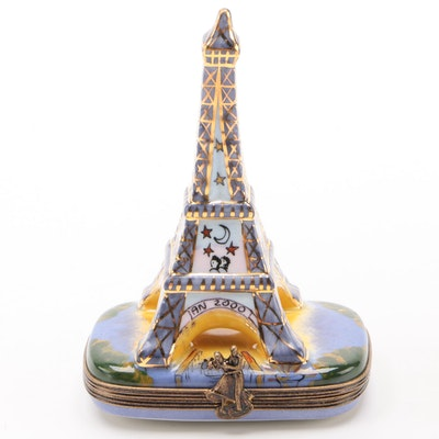 "La Gloriette ""Celebration At The Eiffel Tower"" Porcelain Limoges Box"