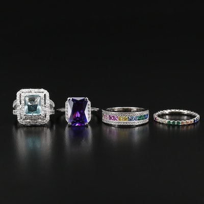 Sterling Silver Rings Featuring Ruby, Spinel and Cubic Zirconia