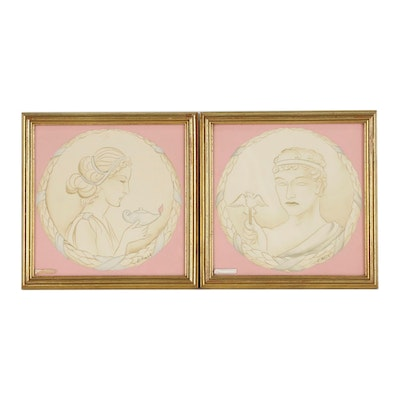 Classical Style Portrait Watercolor Paintings of Man and Woman