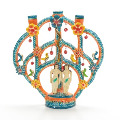 Mexican Folk Art Tree of Life Candelabra, Late 20th Century
