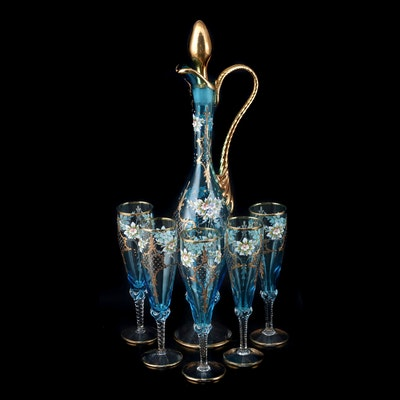 Blue Glass Pitcher and Flutes with Gilt and Painted Floral Accents