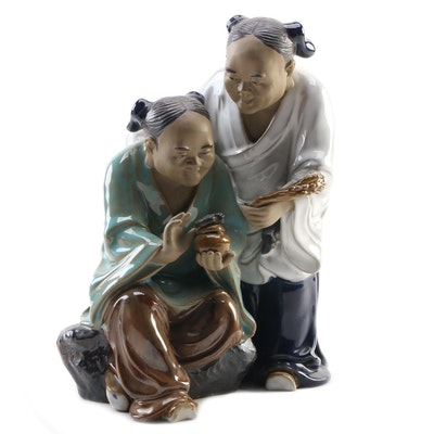Chinese Wanjiang Mudman Figurine of Two Women