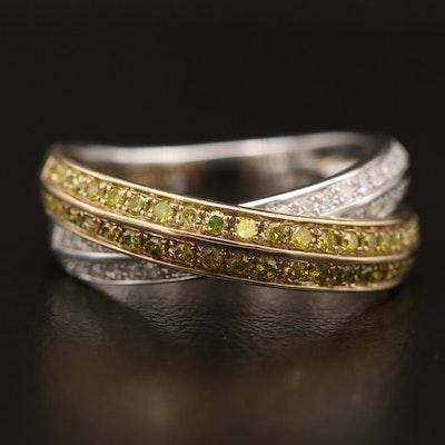10K Two Tone Diamond Crossover Ring