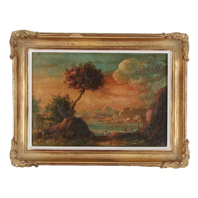 Miniature Sunset Landscape Painting, 20th Century